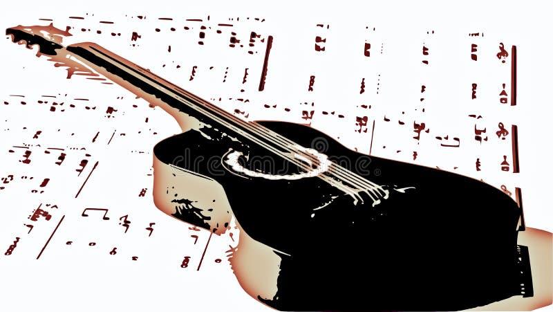 As contagens de uma música velha, e uma guitarra velha ilustração do vetor