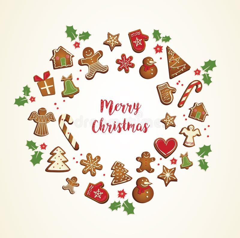 As cookies do pão-de-espécie ajustadas arranjaram dentro como o quadro redondo do feriado ilustração stock