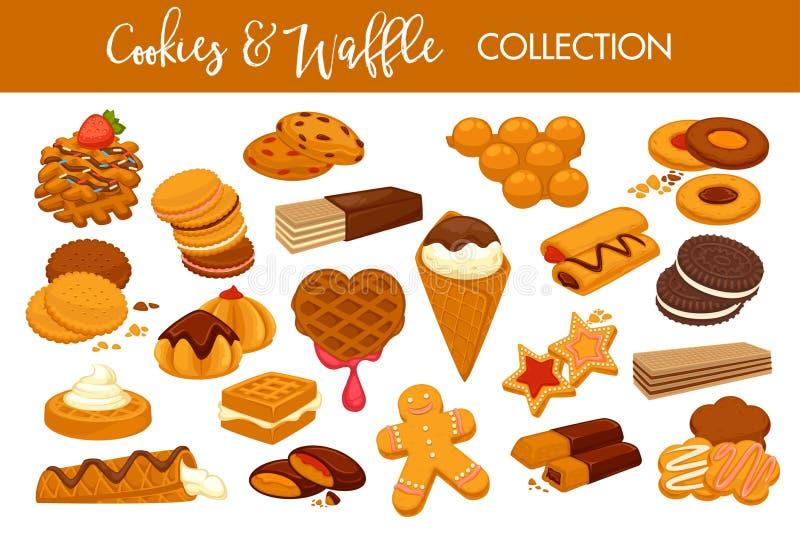 As cookies e os waffles deliciosos doces isolaram a coleção das ilustrações ilustração stock