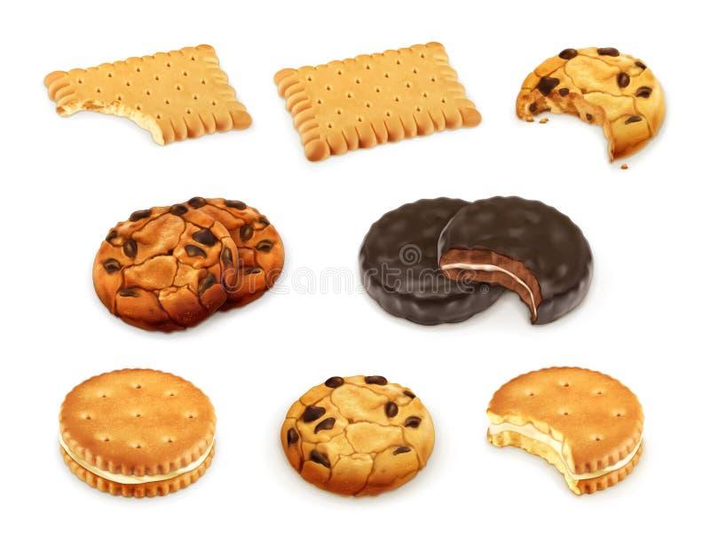As cookies vector o grupo ilustração do vetor