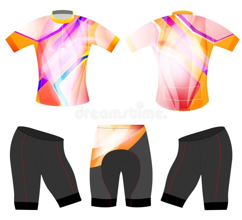As cores abstratas que dão um ciclo a veste ostentam o t-shirt ilustração do vetor