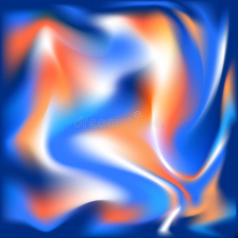 As cores alaranjadas azuis vermelhas vibrantes macias abstratas coloridas de seda holográficas onduladas líquidas borradas fluem  ilustração royalty free