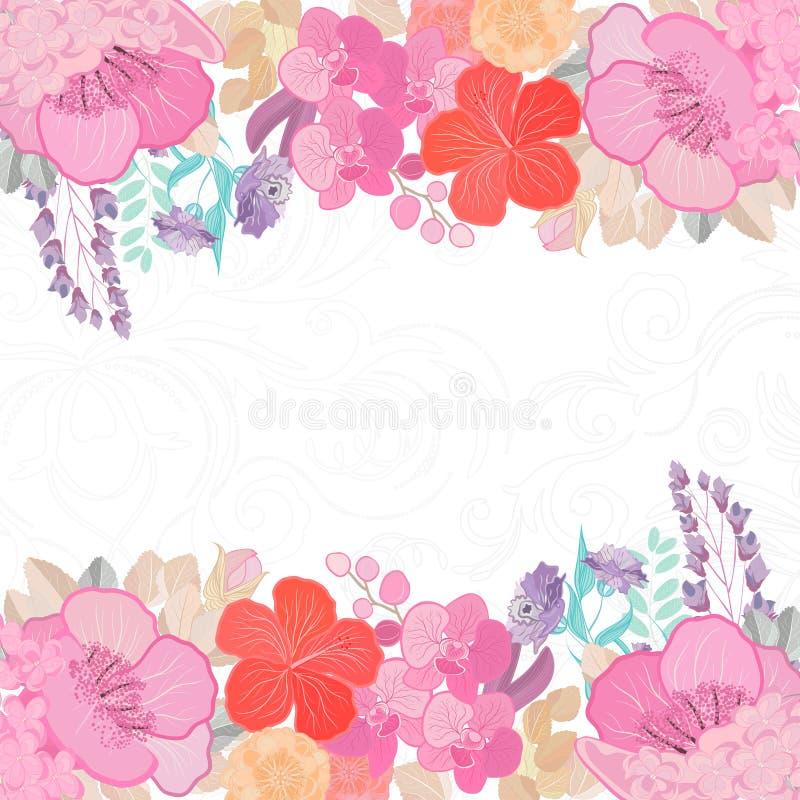 As cores da aquarela florescem o fundo Projeto da natureza da mola com ramos florais Ilustra??o abstrata ilustração do vetor