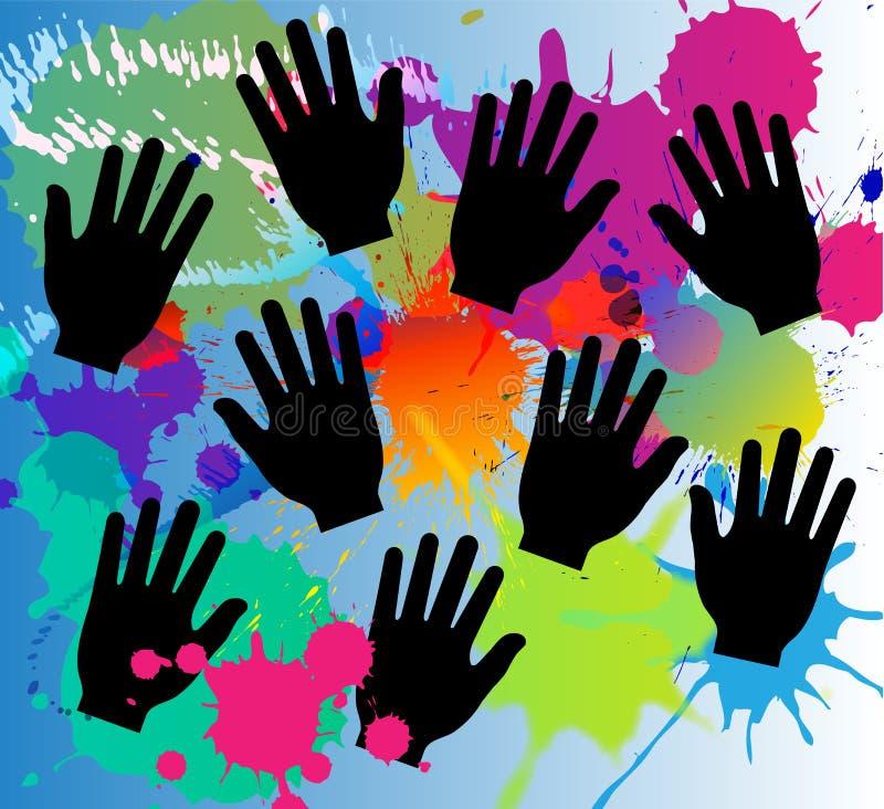 As cores da pintura espirram e o vetor das mãos, respingo da cor, fundo abstrato da pintura ilustração do vetor