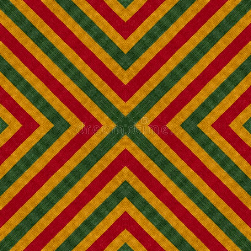 As cores da reggae fazem crochê o fundo feito malha do estilo, vista superior Colagem com reflexão de espelho com rombo Monta sem foto de stock royalty free