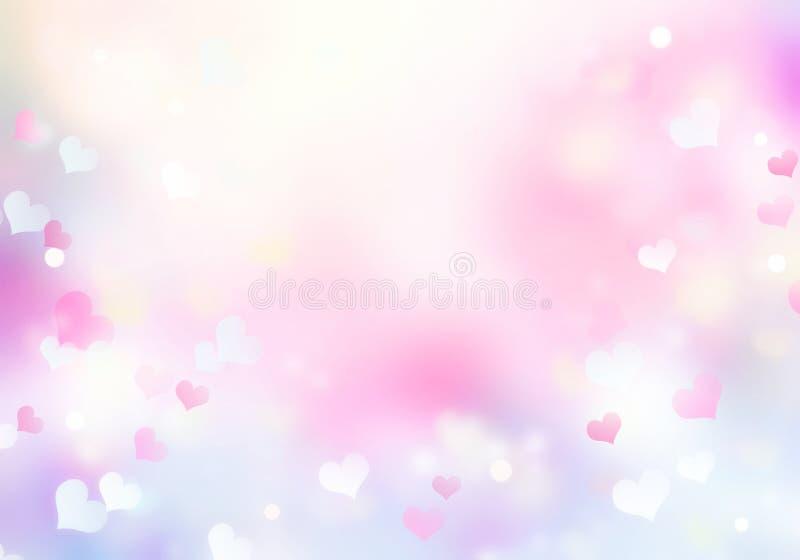 As cores macias picam os corações borrados violetas fundo do bokeh, textura do Valentim ilustração stock