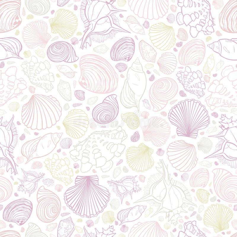 As cores pasteis brancas do vetor repetem o teste padrão com variedade de conchas do mar Aperfeiçoe para cumprimentos, convites,  ilustração do vetor