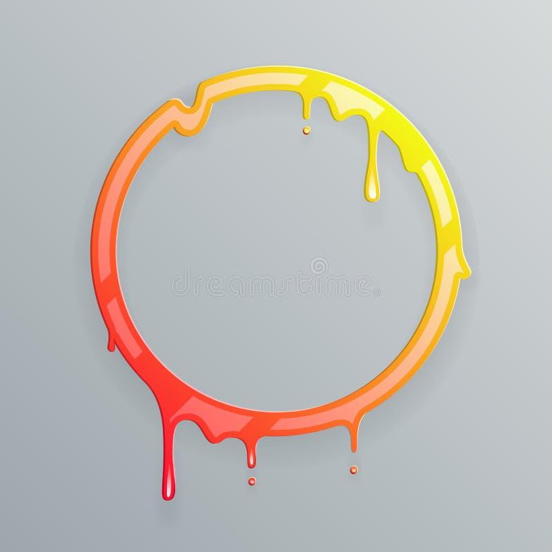 As cores quentes que derretem a gota de fluxo do círculo do fluxo da arte do quadro 3d escapam a ilustração abstrata do vetor do  ilustração royalty free
