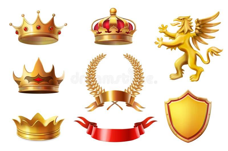 As coroas douradas reais do rei ajustam-se, grinaldas do louro e a fita concede a coleção ilustração do vetor