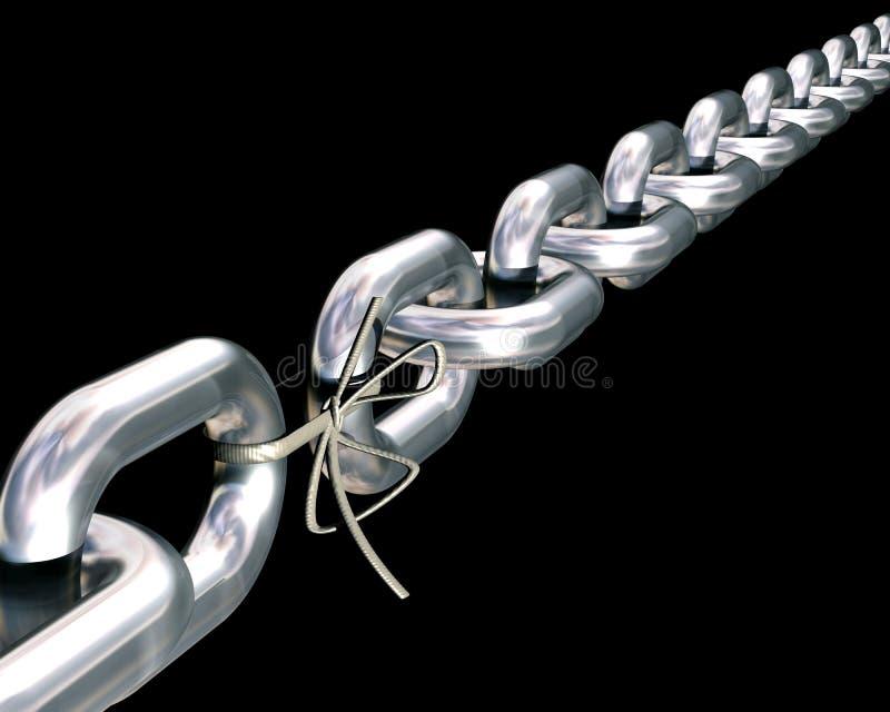 As correntes são somente tão fortes quanto sua ligação mais fraca. ilustração royalty free