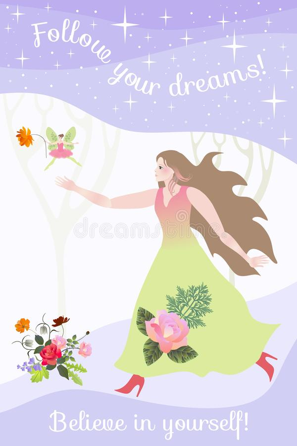 As corridas bonitas da menina para uma fada em uma floresta mágica seguem seus sonhos Acredite no senhor mesmo ilustração royalty free