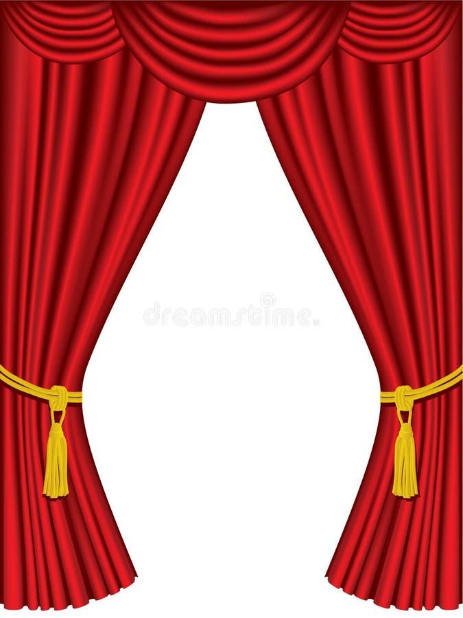 As cortinas do teatro com drapejam ilustração stock