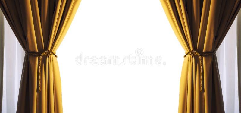 As cortinas esvaziam o quadro branco livre do espaço Cor do ouro Png disponível ilustração do vetor