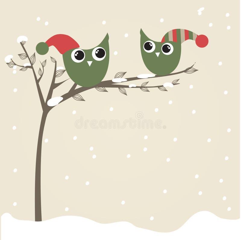 Download As Corujas Acoplam-se Em Chapéus Do Natal Na Filial De árvore Ilustração do Vetor - Ilustração de arte, coruja: 16860487