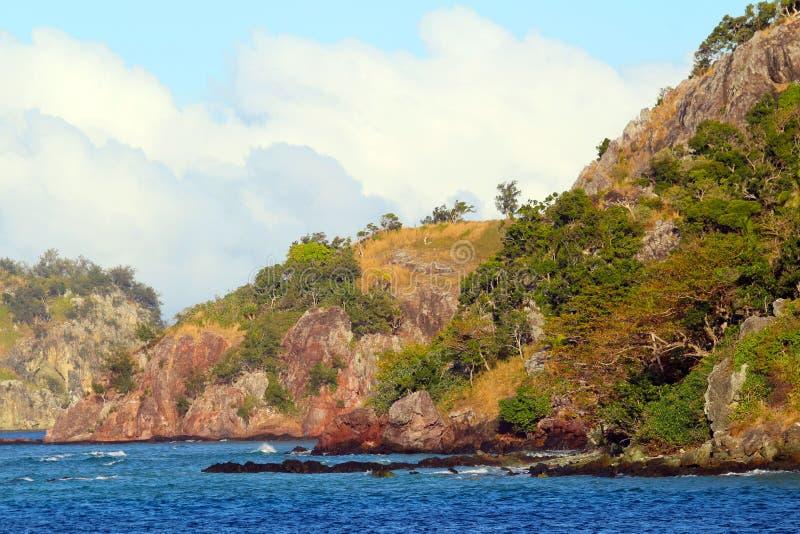 As costas de uma ilha tropical, Fiji imagem de stock