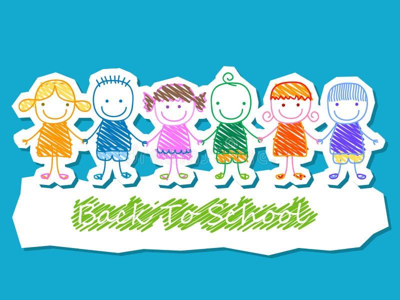 As crianças agrupam, de volta à escola ilustração royalty free