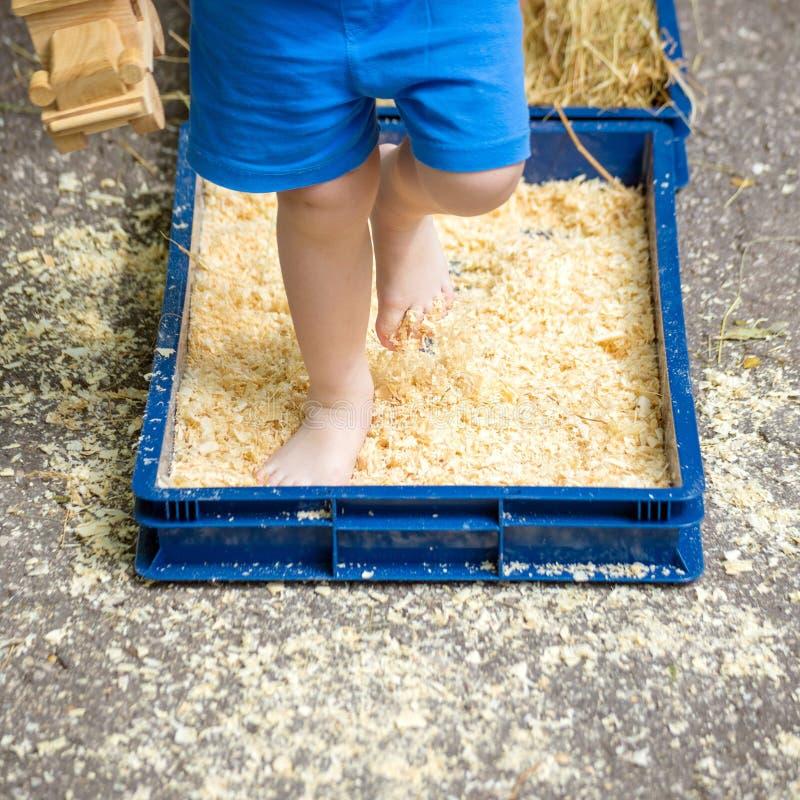 As crianças andam descalço ao longo 'da fuga do endurecimento 'com seixos, serragem imagem de stock royalty free