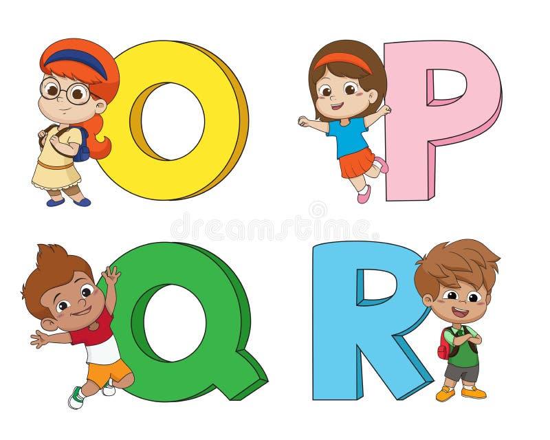 As crianças aprendem o alfabeto inglês Vetor e ilustração ilustração do vetor