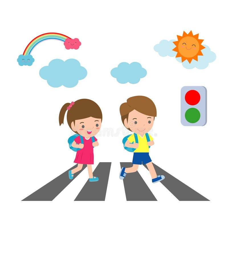 As crianças através da estrada, estudantes andam através da faixa de travessia com um sinal, de volta à escola, ilustração do vet ilustração do vetor