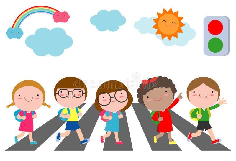 As crianças através da estrada, estudantes andam através da faixa de travessia com um sinal, de volta à ilustração do vetor da es ilustração do vetor