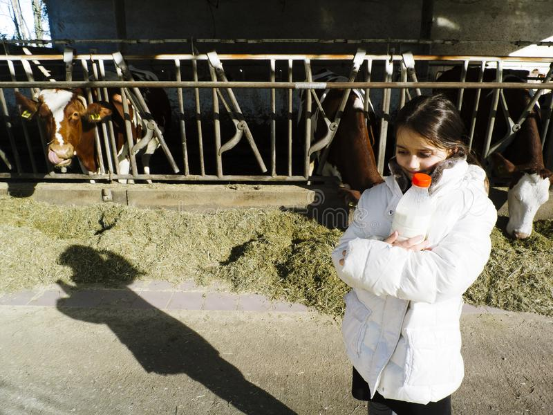As crianças bebem o leite fresco, das garrafas em uma exploração agrícola, atrás do th imagens de stock
