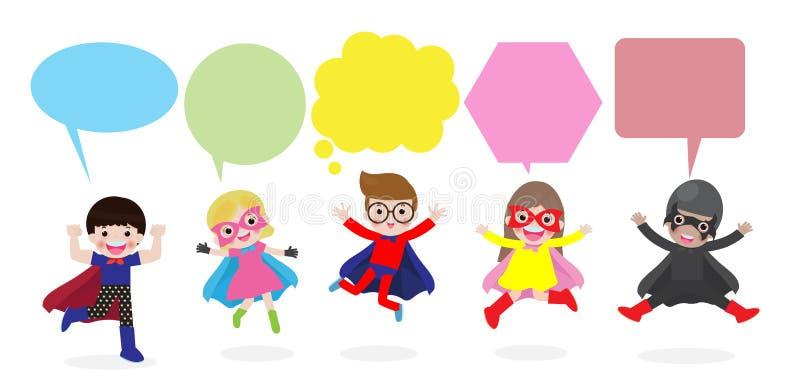 As crian?as bonitos do super-her?i com bolhas do discurso, ajustaram-se da crian?a do super-her?i com as bolhas do discurso isola ilustração royalty free