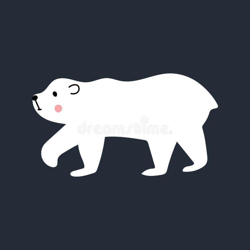 As crian?as bonitos entregam o cartaz tirado do ber??rio com o animal do urso polar Ilustra??o do vetor da cor ilustração royalty free