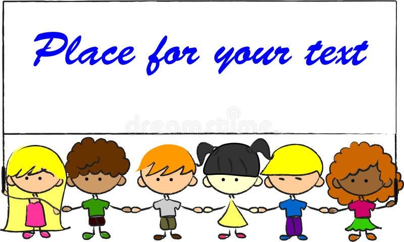 As crianças bonitos que prendem as mãos prendem a bandeira ilustração do vetor