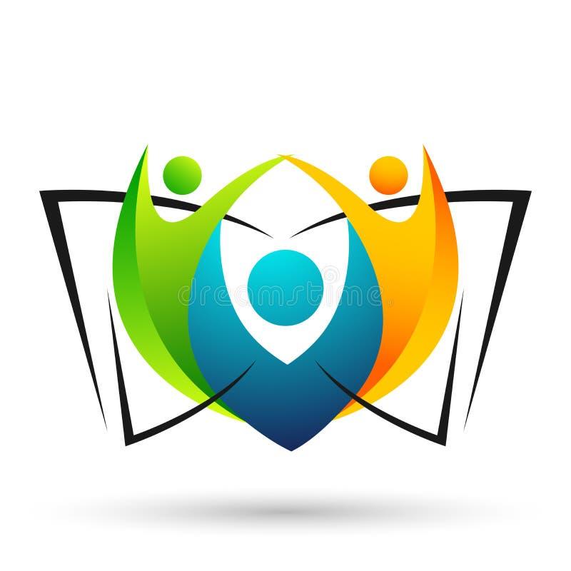 As crianças brilhantes do logotipo da educação do mundo do globo educam o ícone das crianças dos livros no logotipo do clipart ilustração royalty free