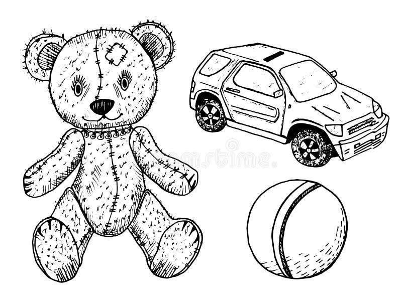 As crianças brincam para crianças urso de peluche, bola bonito e máquina ou carro Estilo retro do vintage Monocromático tirado mã ilustração royalty free