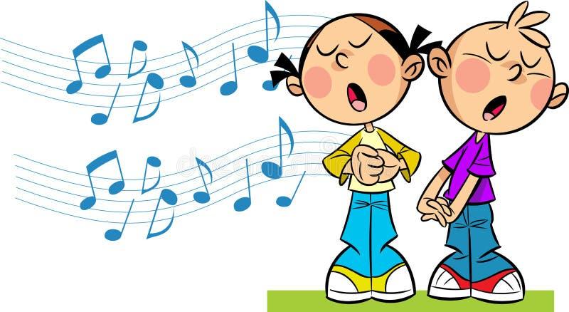 As crianças cantam ilustração royalty free