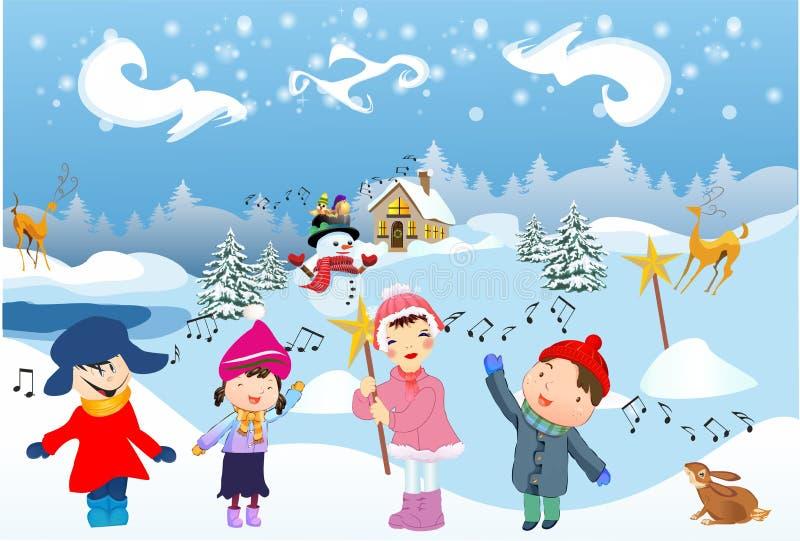 As crianças cantam a música de natal ilustração stock