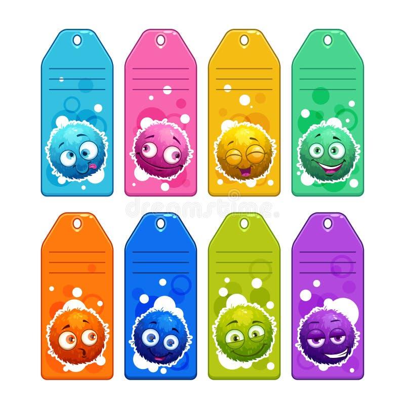 As crianças coloridas nomeiam etiquetas com caráteres distorcido redondos dos desenhos animados engraçados ilustração royalty free