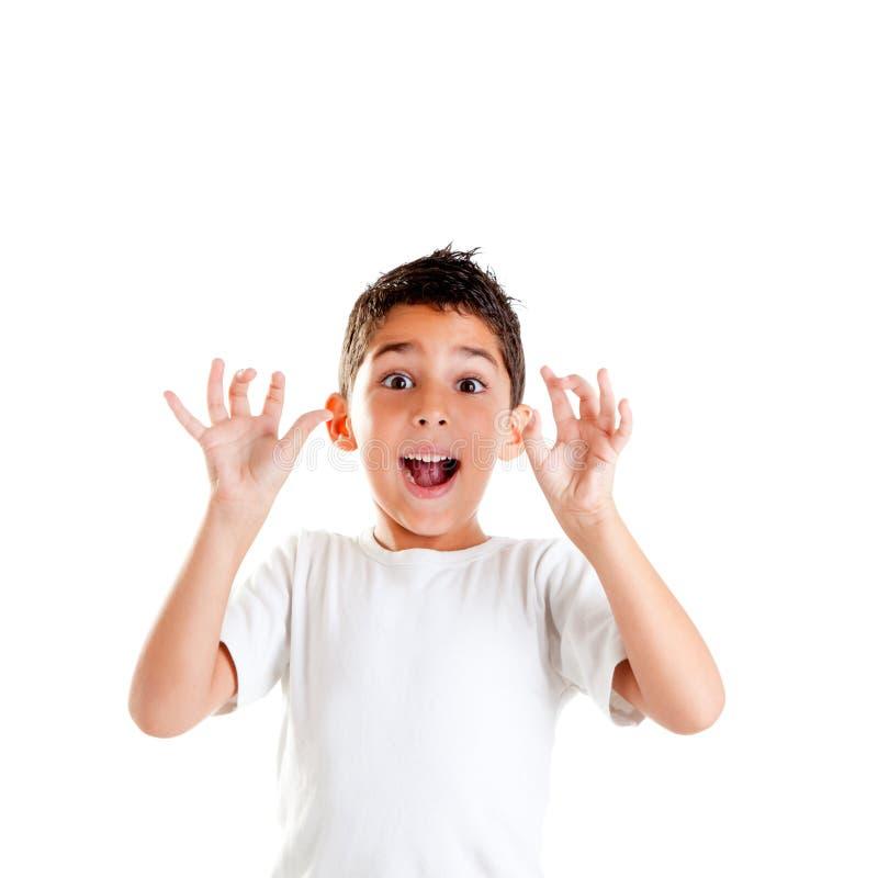 As crianças com gesto engraçado abrem os dedos foto de stock royalty free