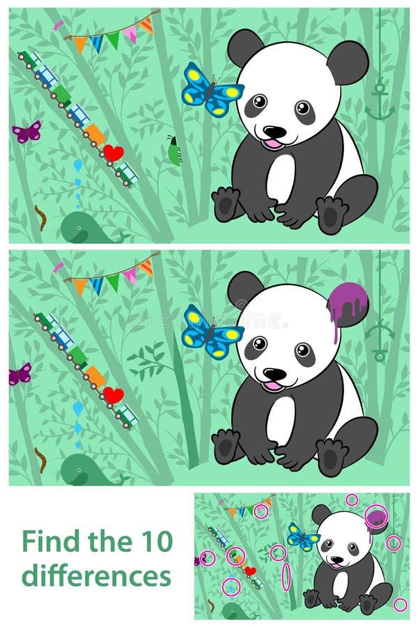 As crianças confundem - manche a diferença nas pandas ilustração royalty free