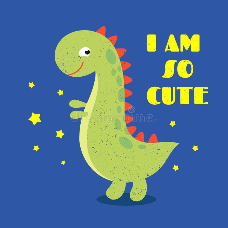 As crianças da camisa de T imprimem a etiqueta com dinossauro bonito ilustração do vetor