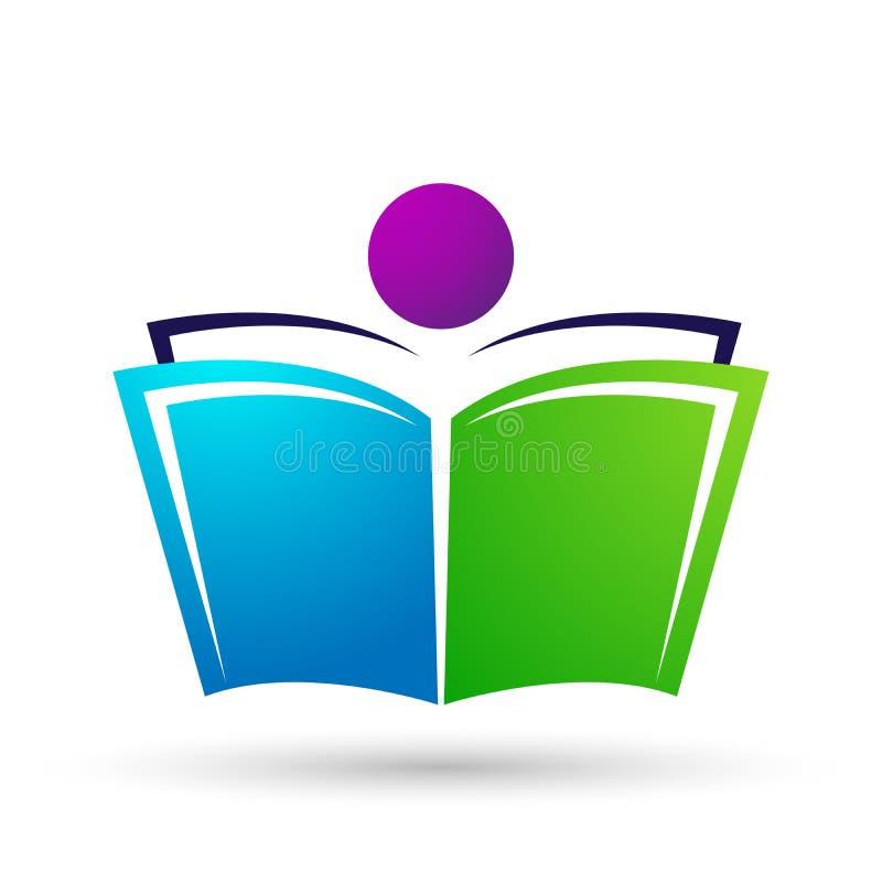 As crianças das crianças do logotipo da educação do mundo do globo educam o ícone das crianças dos livros ilustração stock