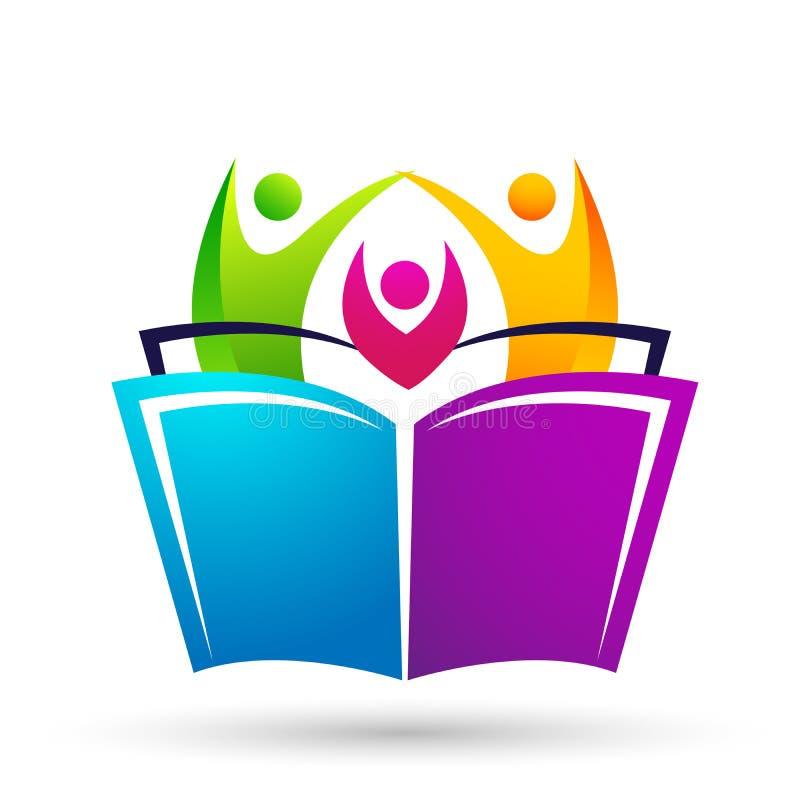 As crianças das crianças do logotipo da educação do mundo do globo educam o ícone das crianças dos livros ilustração royalty free
