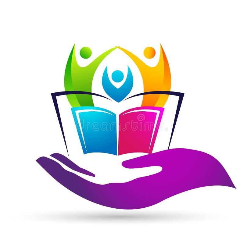 As crianças das crianças do logotipo da educação do mundo do globo educam o ícone das crianças dos livros ilustração do vetor