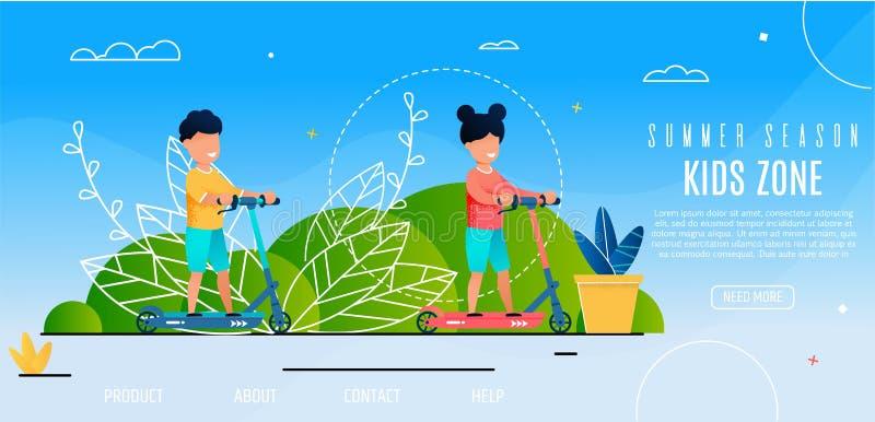 As crianças de abertura da temporada de verão dividem atividades exteriores ilustração stock