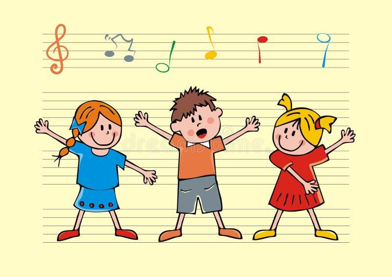 As crianças de canto, no fundo são notas da pauta musical e da música ilustração do vetor