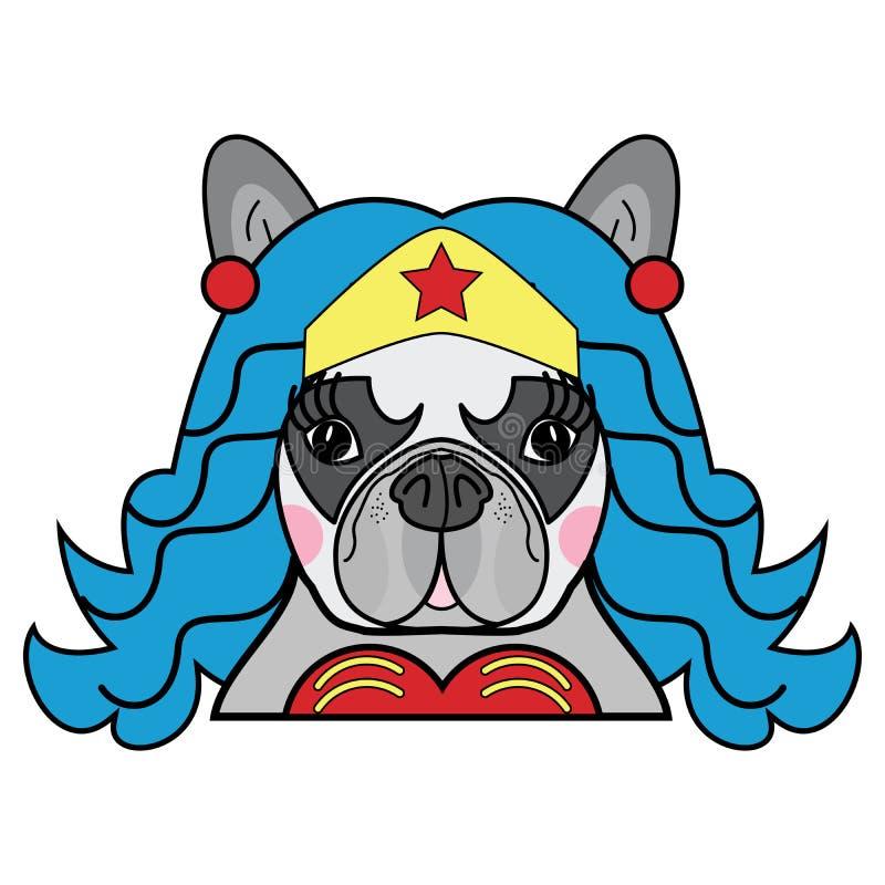 As crianças denominam o vetor fêmea bonito do caráter cômico do super-herói do cão do buldogue francês na cor ilustração royalty free