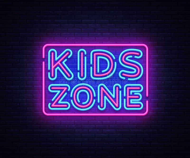 As crianças dividem o vetor do sinal de néon Sinal de néon do molde do projeto da zona das crianças, bandeira clara, quadro indic ilustração stock