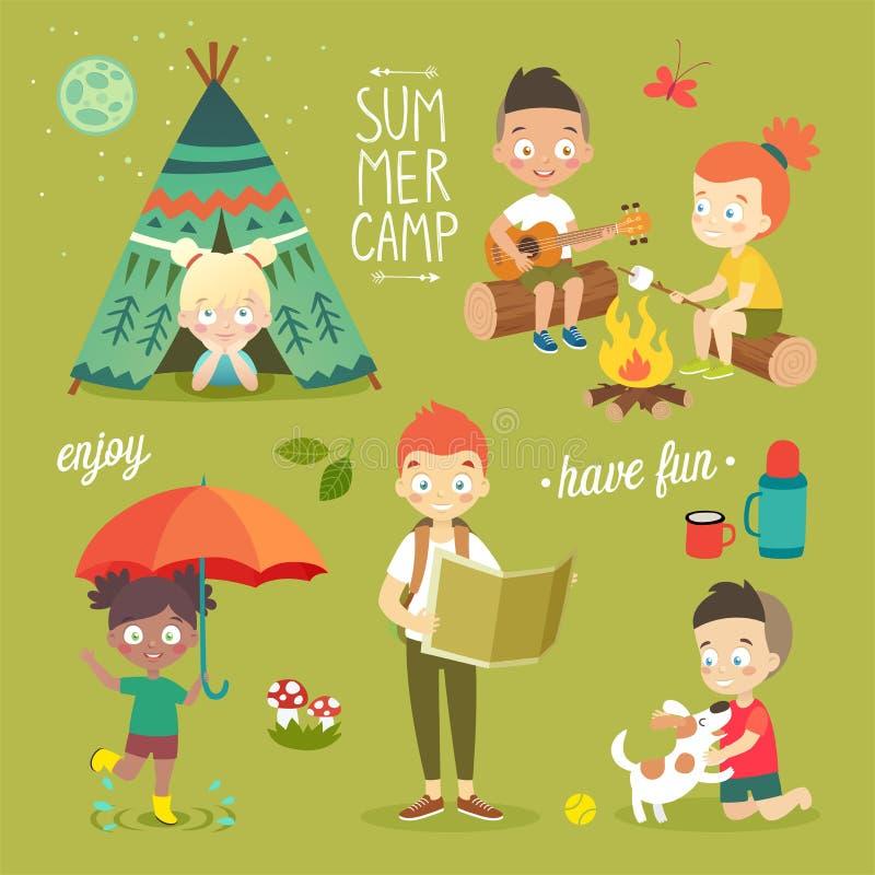 As crianças do acampamento de verão ajustaram-se, apreciando a natureza, jogando e tendo o divertimento ilustração royalty free