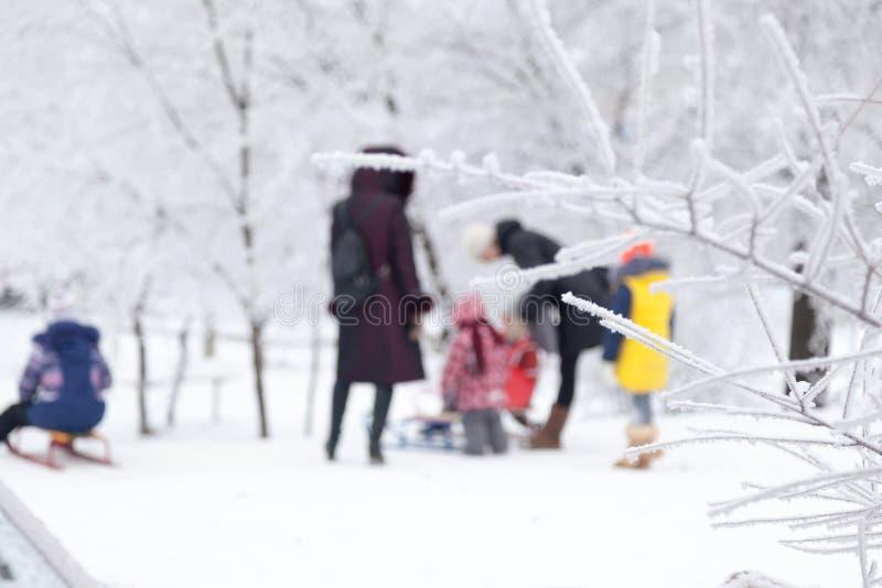 As crianças do fundo montam o pequeno trenó no inverno imagem de stock royalty free