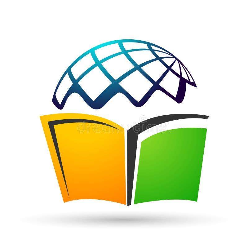 As crianças do logotipo da educação do mundo do globo educam o ícone das crianças dos livros ilustração do vetor