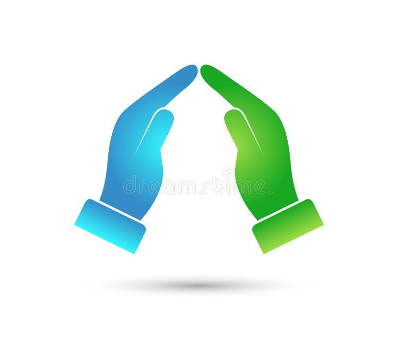 As crianças do logotipo das mãos educam o ícone das crianças, marcando o vetor ilustração stock