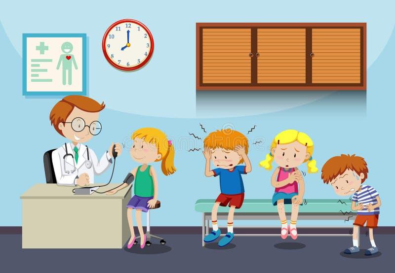 As crianças doentes esperam para ver o doutor ilustração stock