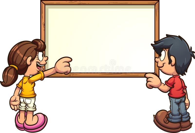 As crianças dos desenhos animados para trás veem apontar na placa branca vazia ilustração do vetor