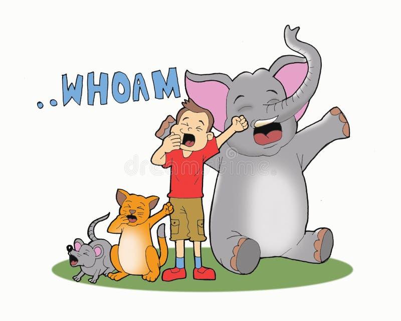 As crianças e alguns animais bocejam artoon ilustração do vetor